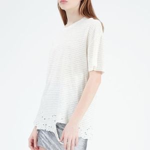IRO Khalid Striped Distressed Linen Tee Shirt